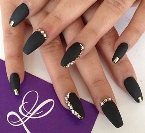 Matte Black With Gold Stones Black Gold Nails Golden Nails Nail Designs