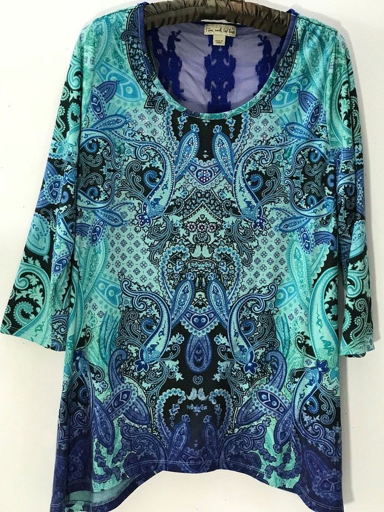 09f19789688 ONE WORLD Women s Sublimation Top Size L Blue Green Lace Back 3 4 Sleeve  Tunic  OneWorld  Tunic  CasualWeartowork