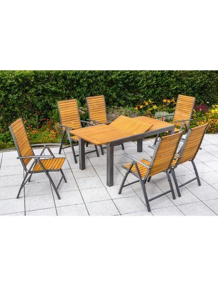 Gartenmöbelset Santorin 7 tlg 6 Klappsessel Tisch 150 200 cm