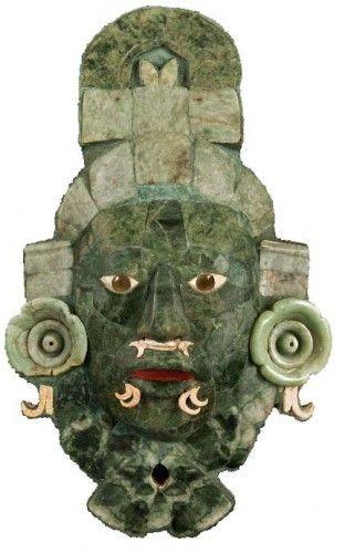 Funeral Mask in Jade Mosaic, late classical, 660–750 AD. Maya Architecture Museum, Fuerte de la Soledad, Campeche | © Photo by Martirene Alcántara/INAH