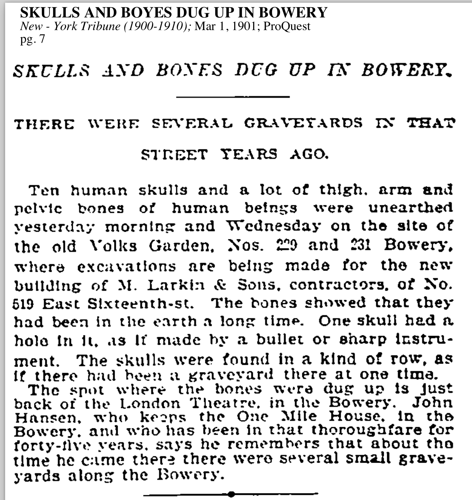 """""""SKULLS AND BONES DUG UP IN BOWERY."""" March 1, 1901."""
