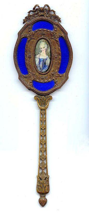 French Bronze Hand Mirror W Cobalt Enamel Guilloche Amp Hand