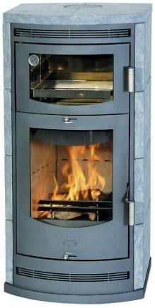 Contemporary Wood Burning Stove Soapstone Baccara Novo Fireplace