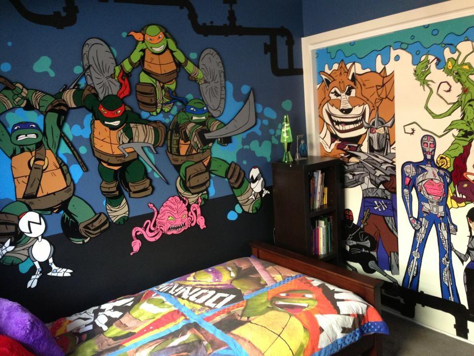 Captivating Hand Painted Teenage Mutant Ninja Turtle Bedroom Wall Mural. TMNT.