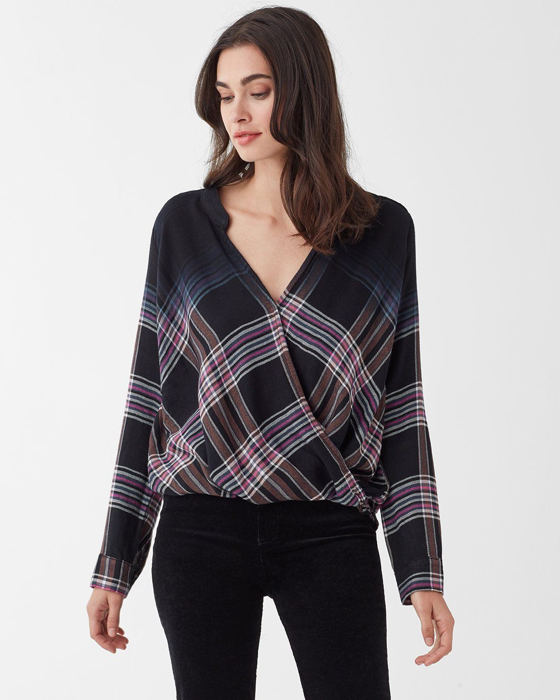 7e0e7cd9cb2e3 Hyperion Plaid Surplice Top