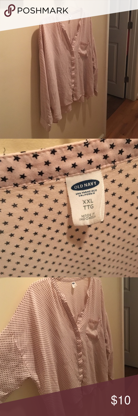 Old Navy hi-low loose fit star long sleeve blouse Super soft. Light pink with little black stars. Loose, flowy fit. Longer in the back. Would be great with leggings. Button down. Old Navy Tops Blouses