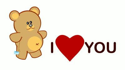 I Love You Cartoon Love Video Card With Cartoon Animation Of