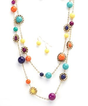Look what I found on #zulily! Ethel & Myrtle Color Burst Bead Necklace & Earring Set by Ethel & Myrtle #zulilyfinds