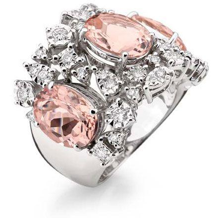 Bague or blanc, diamants, quartz rose