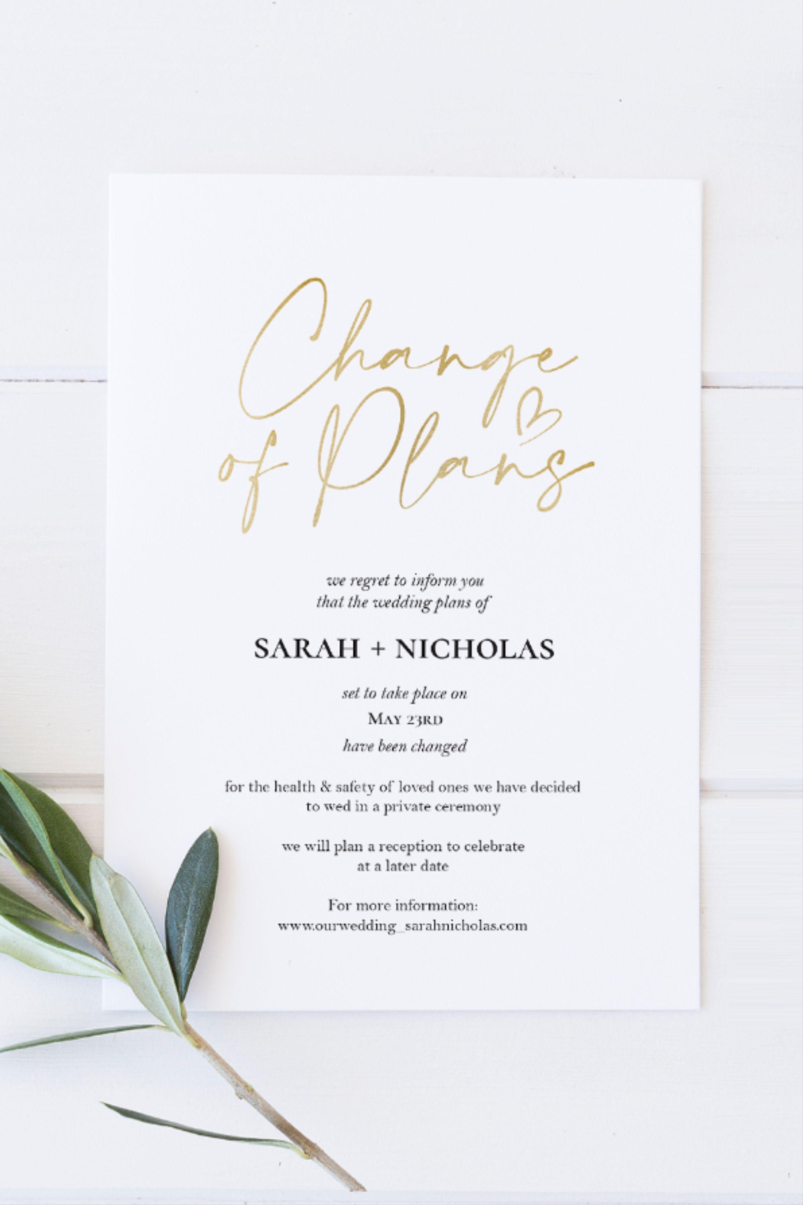 Wedding Postponement Text Message Instant Wedding Reschedule Announcement ANTOINETTE Change of Plans Invitation Template Hand-drawn