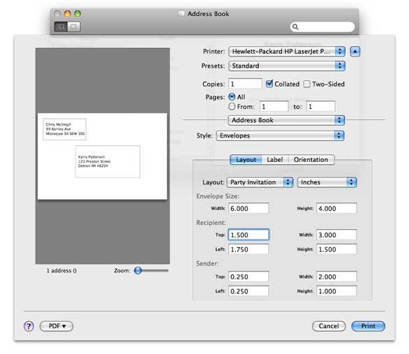 Print Customized Envelopes With Address Book Address Label Template Return Address Labels Template Addressing Envelopes
