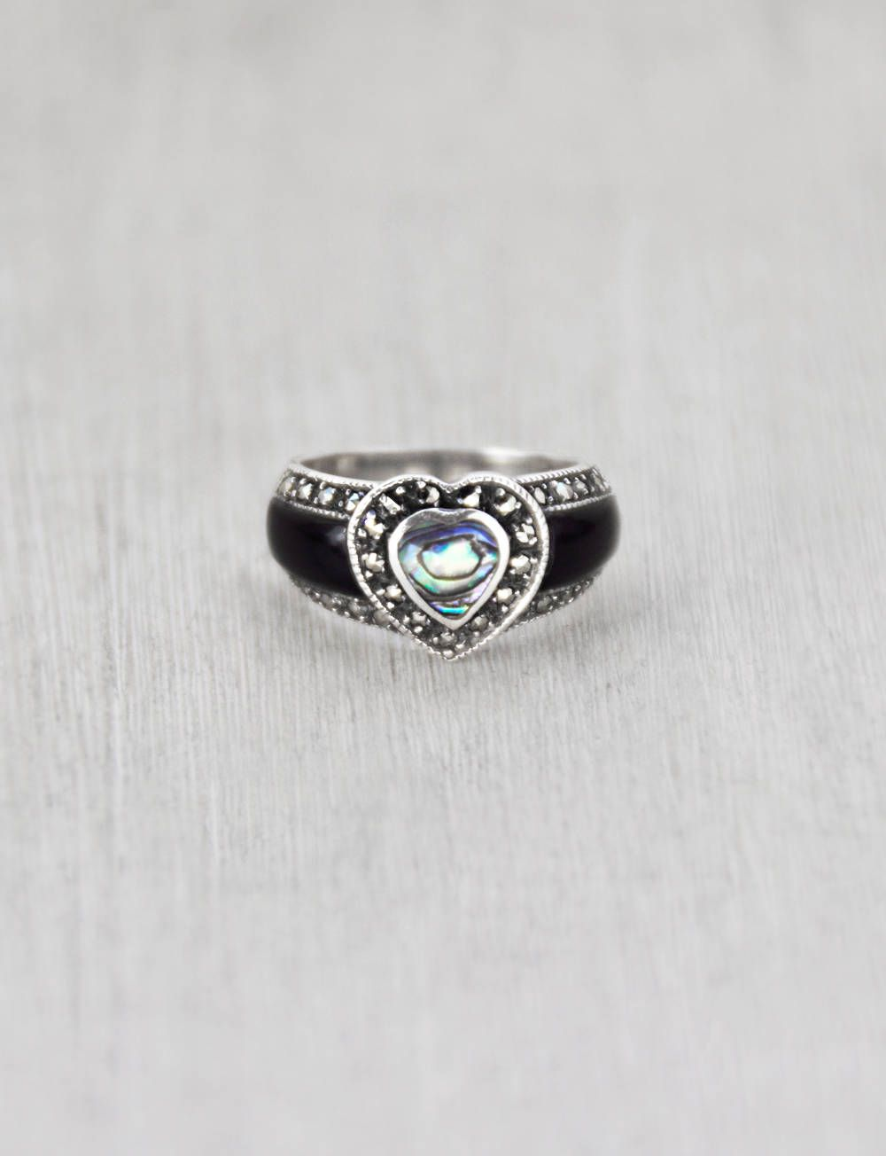 Abalone /& Marcasite Ladies Ring Sterling Silver 925 Onyx