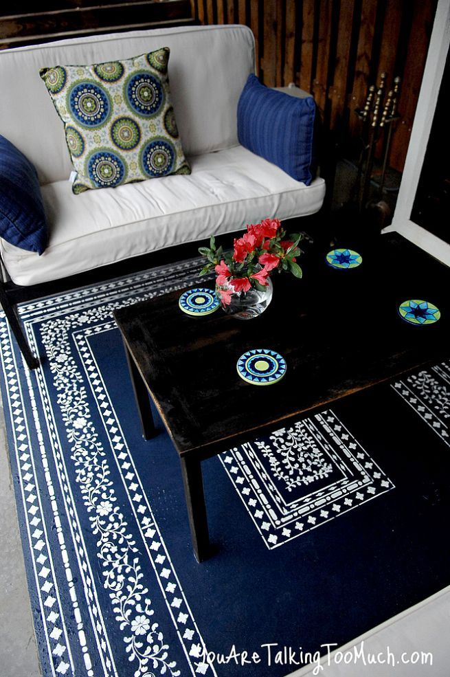 Want To Fancy Up Your Outdoor Space What About A Stenciled Rug On The Concrete Outdoor Rugs Patio Paint Concrete Patio Outdoor Plastic Rug