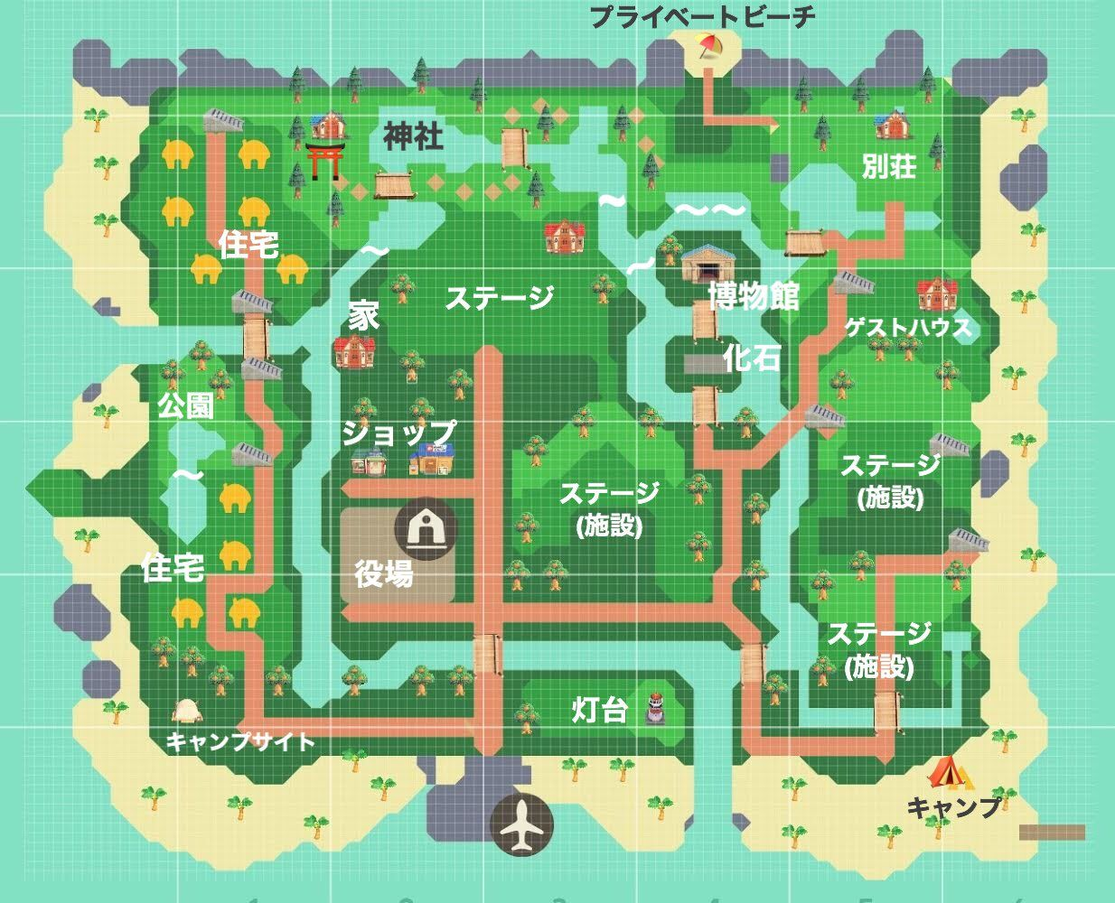 👀あつ 森 島 レイアウト 地図