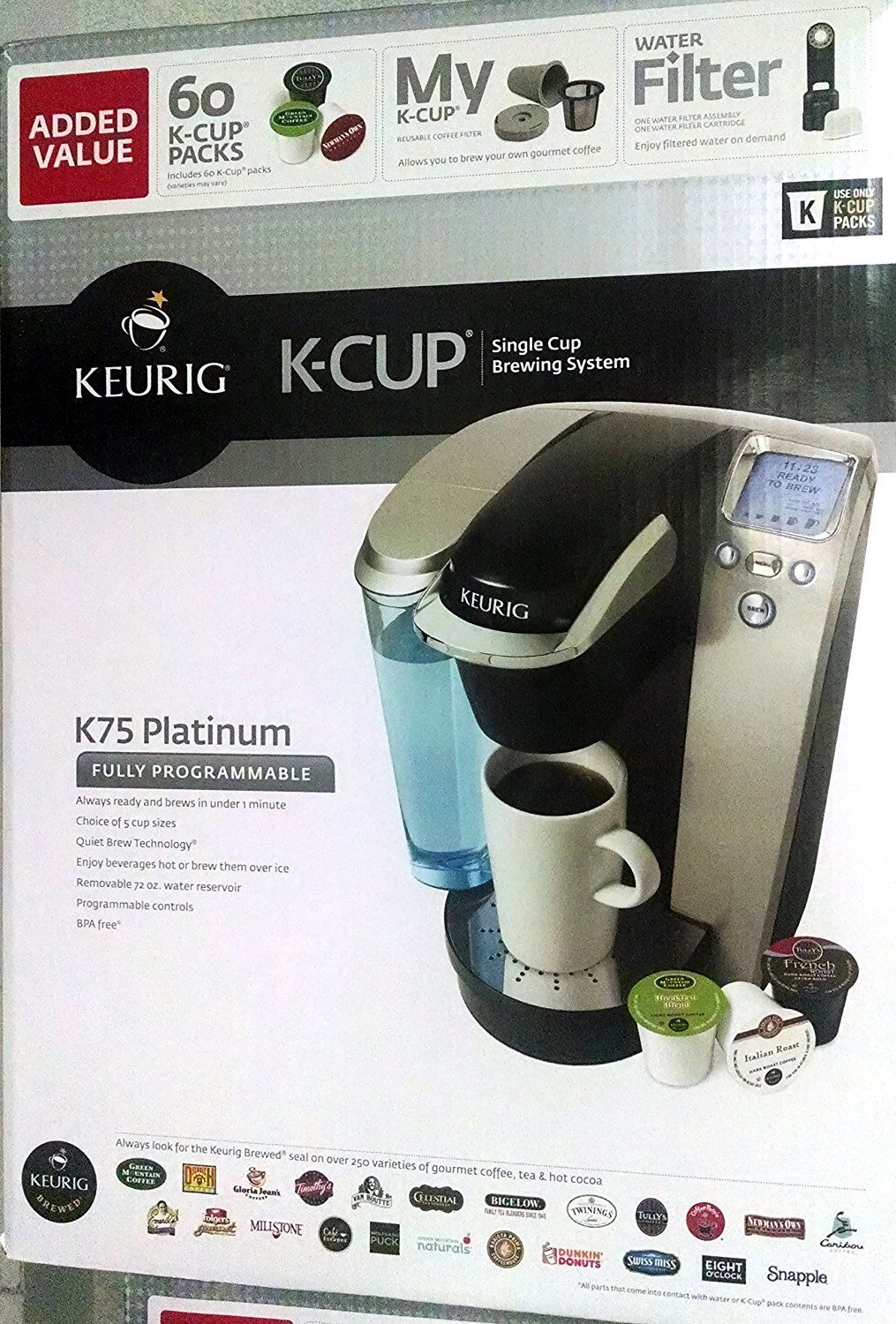 Keurig K75 Platinum Single Cup Home Brewing System With Water
