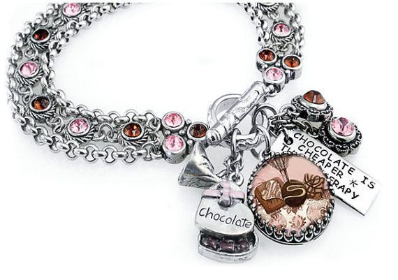 Chocolate Crystal Charm Bracelet