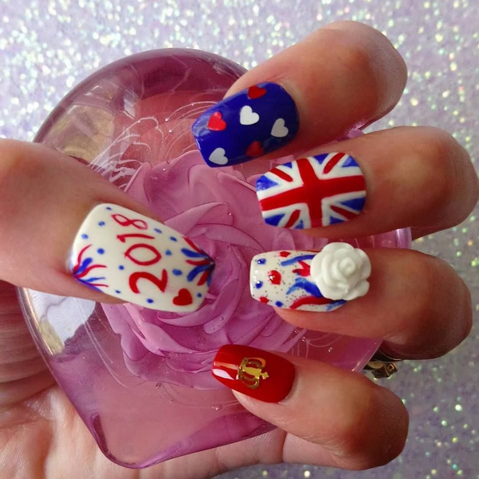 b85e48458d Royal wedding nail design featuring heart nail decals, crown nail ...