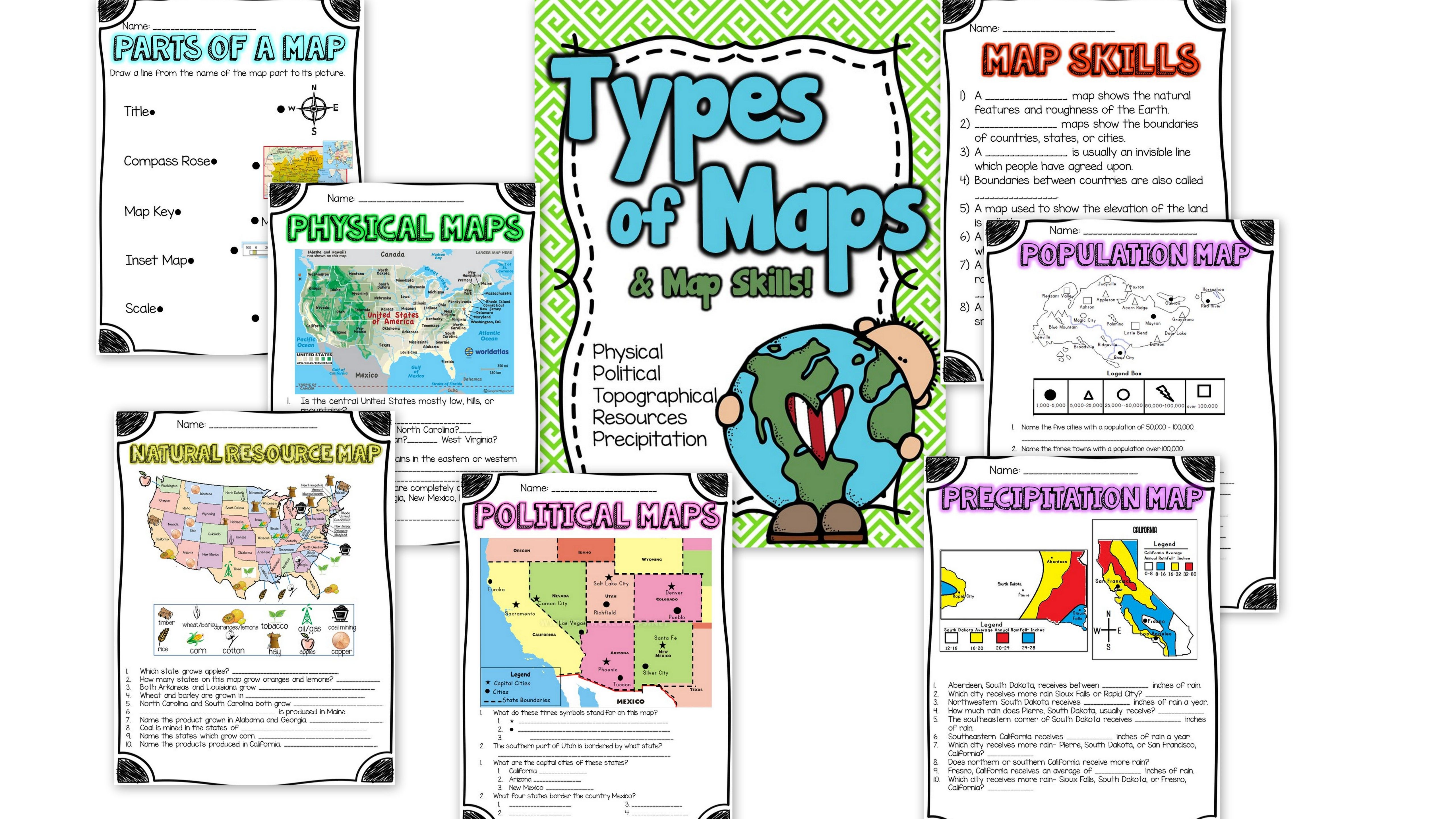 Types of Maps and Map Skills Pack   Social Studies grades 2-5   Back to  School   Map skills [ 2880 x 5120 Pixel ]