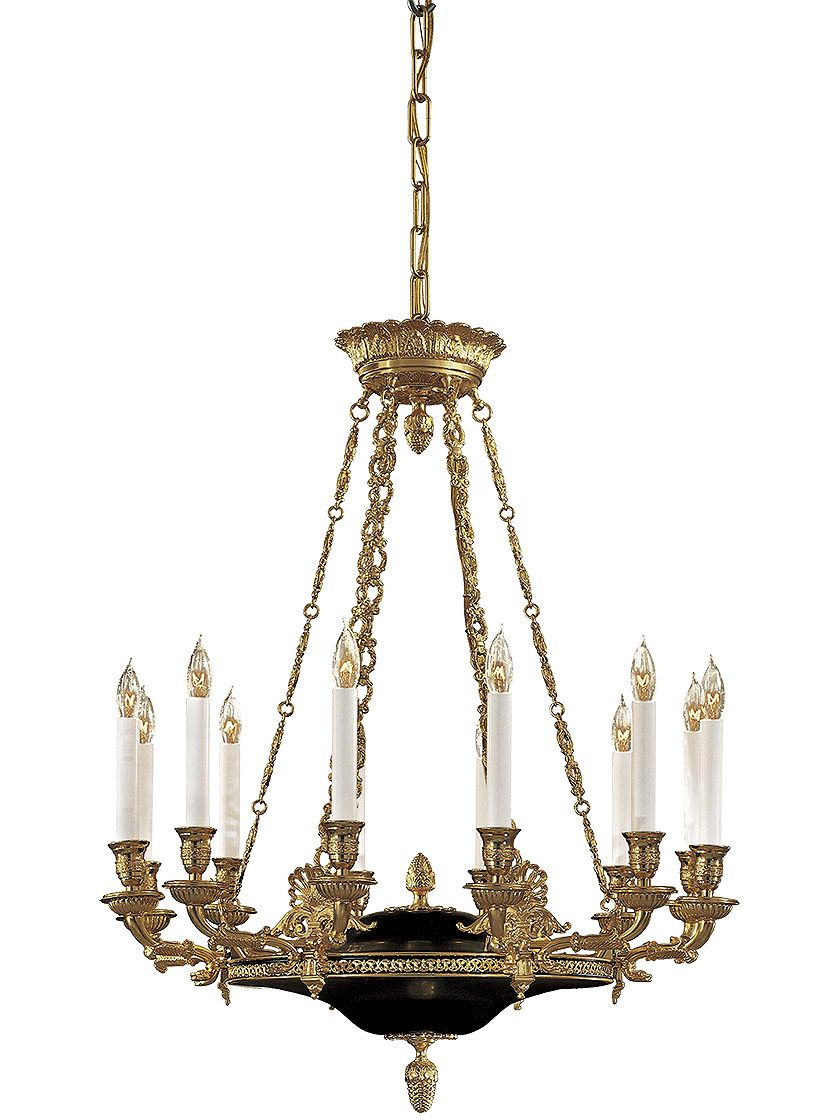 French empire 12 light chandelier in dore gold black french antique reproduction lighting french empire 12 light chandelier in dore gold black mozeypictures
