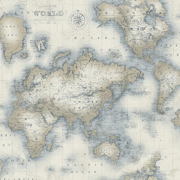 Mercator cream world map wallpaper from the seaside living mercator blue world map wallpaper brewster wallcoverings blues neutrals nautical wallpaper gumiabroncs Gallery