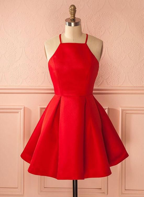e122d76c2ef5 Charming A line red short prom dress, red homecoming dress in 2019 ...