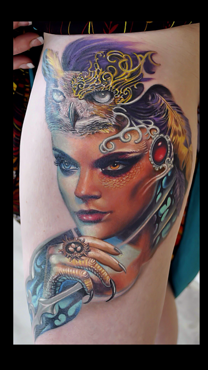 Silo Tattoos Incredible Body Art Masterpieces That Look: Rember - Owl Lady Colab Rember With Nate Beavers