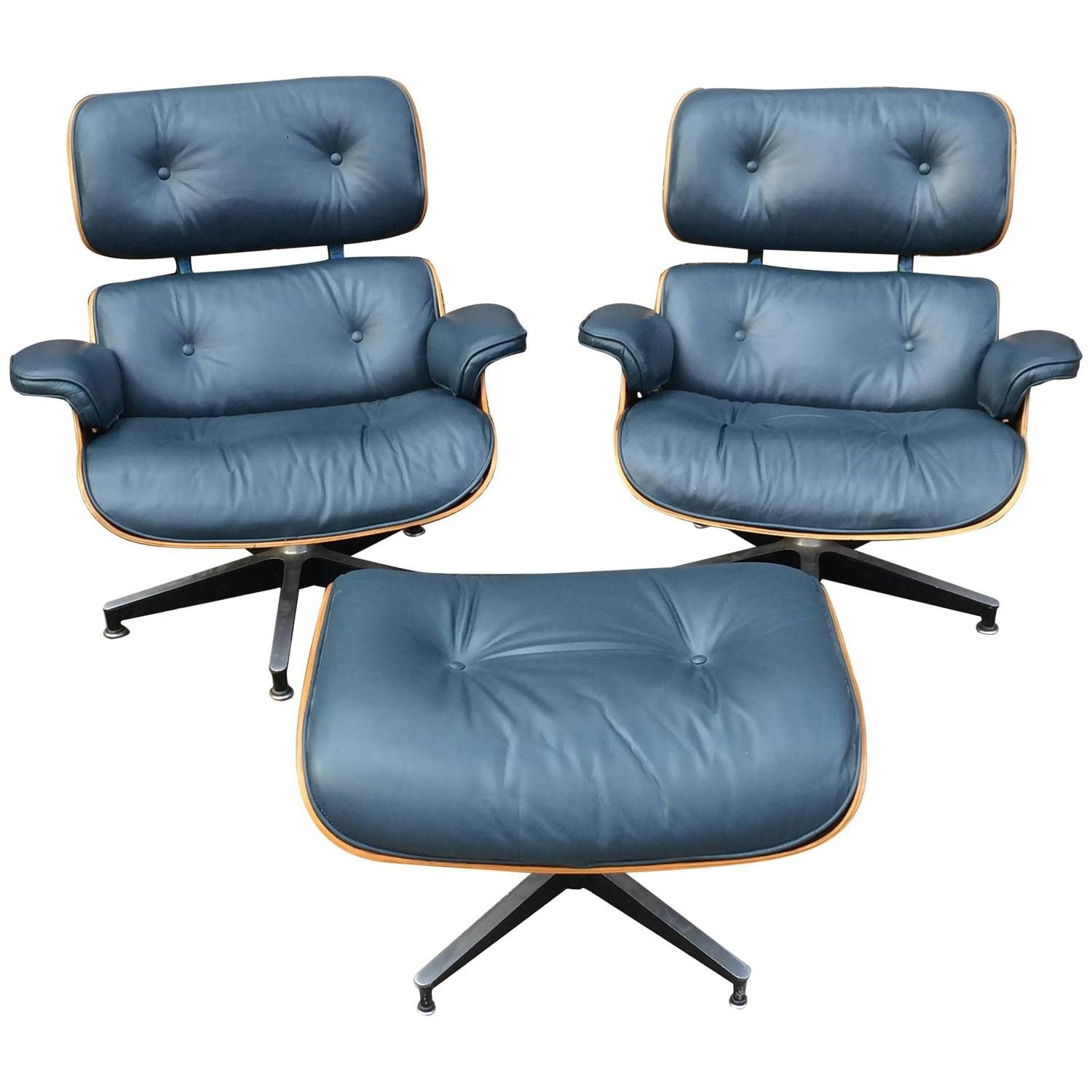 Best Rare Navy Blue Herman Miller Eames Lounge Chair Set 640 x 480