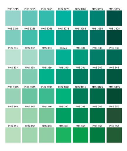 Green Color Names Palette