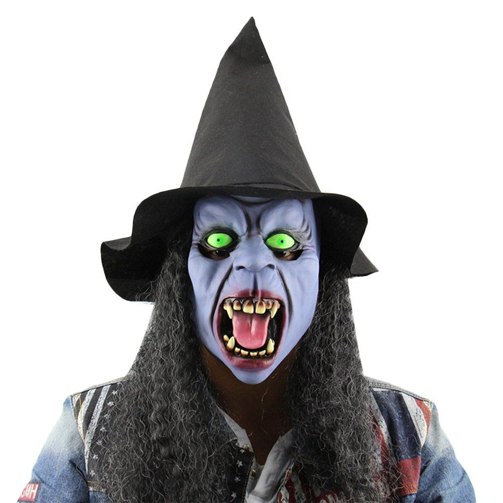 Horror Ghost Masks SKM Witch Tusks Head Masks with Hat Wigs for ...