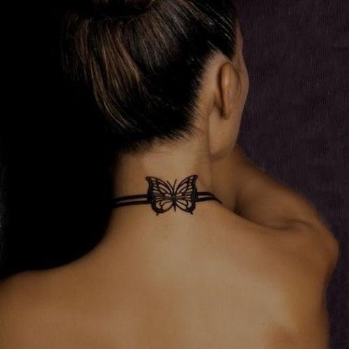 Pequeño Tatuaje De Una Mariposa En La Nuca Tats Pinterest