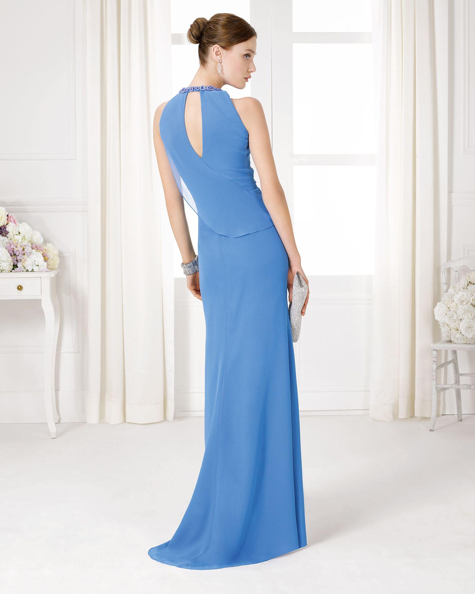 9U200 vestido y chal de fiesta en gasa y pedreria largo. | vestidos ...