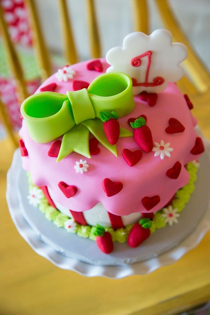 Pleasing Strawberry Shortcake Themed First Birthday Party Ideas Decor Personalised Birthday Cards Veneteletsinfo