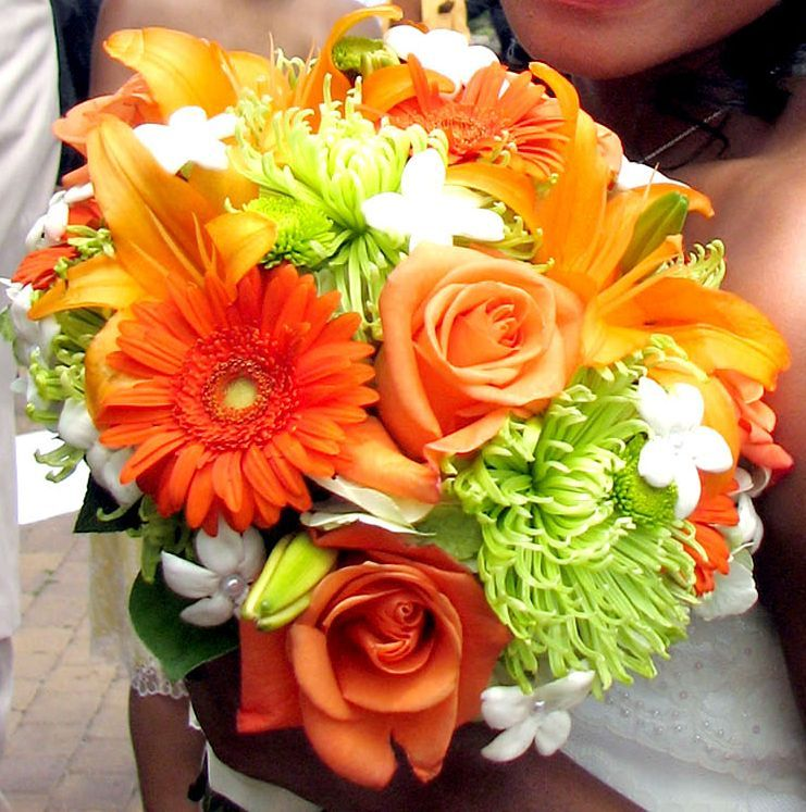 Weddings In Orange And Lime Green Orange Flowers For Wedding - Burnt orange and green wedding colors