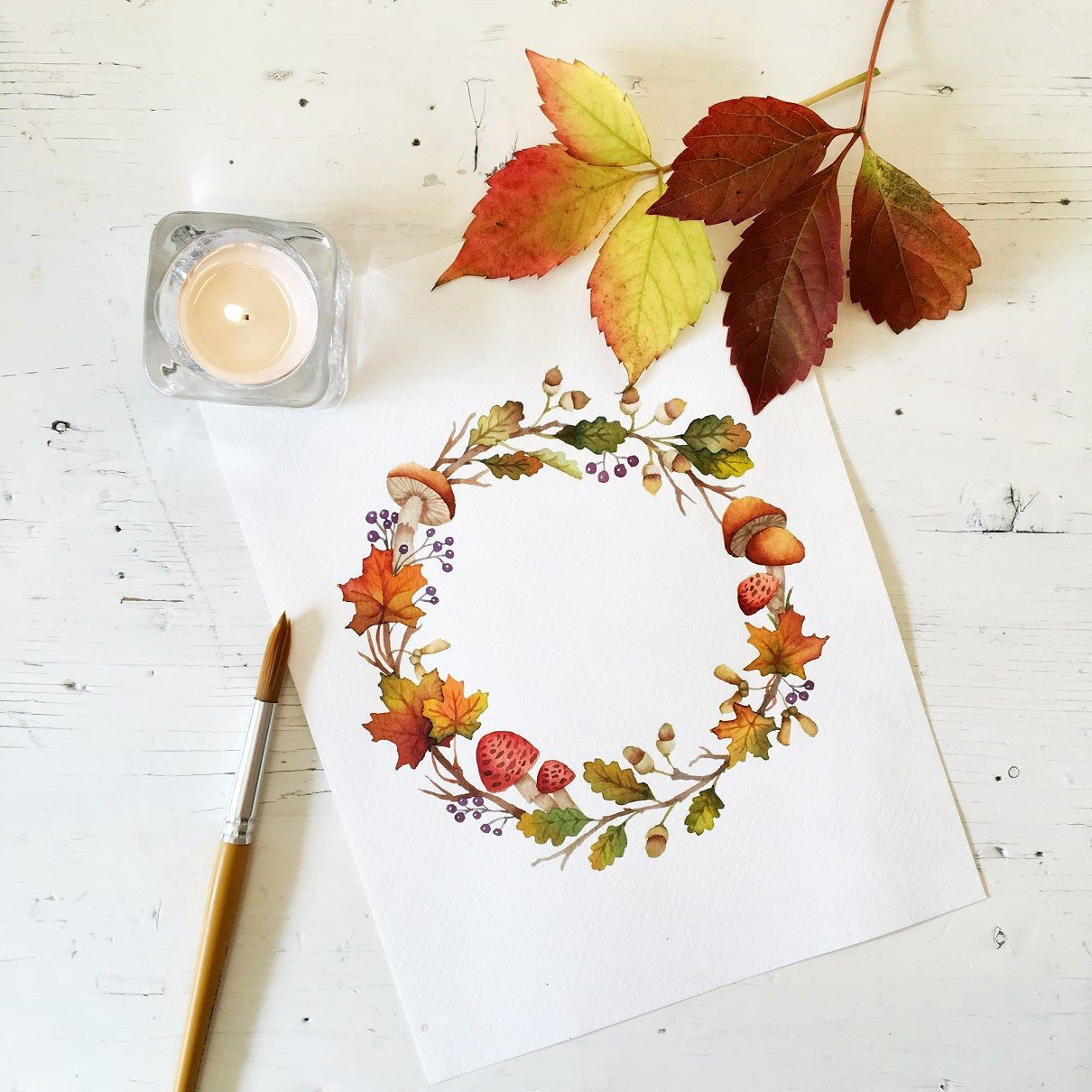 Photo of Autumn Floral Wreath | watercolor painting