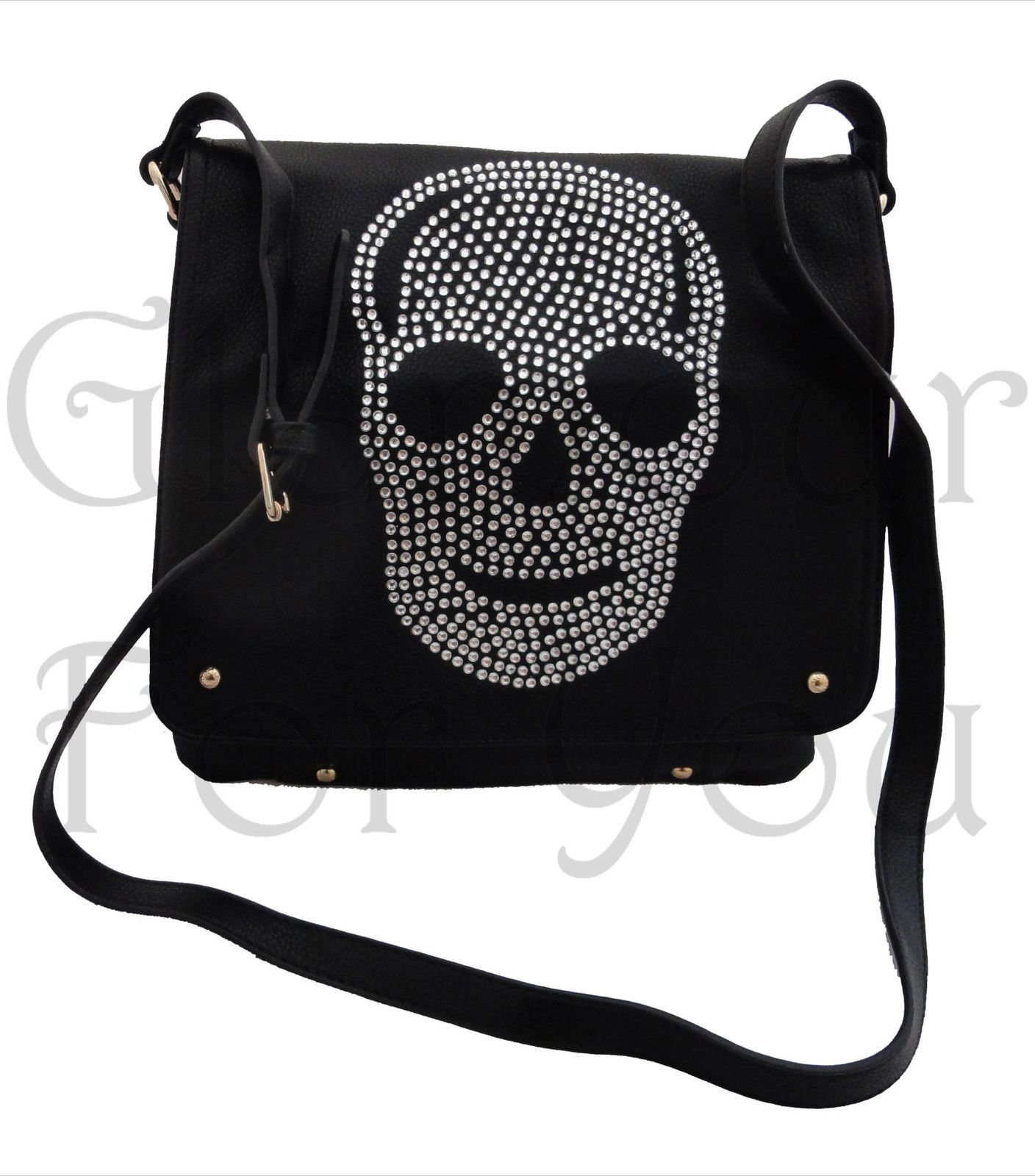 e3d712cfb907 Genuine LYDC DIAMANTE SKULL Celebrity Bag Faux Leather Satchel Saddle Handbag  BN