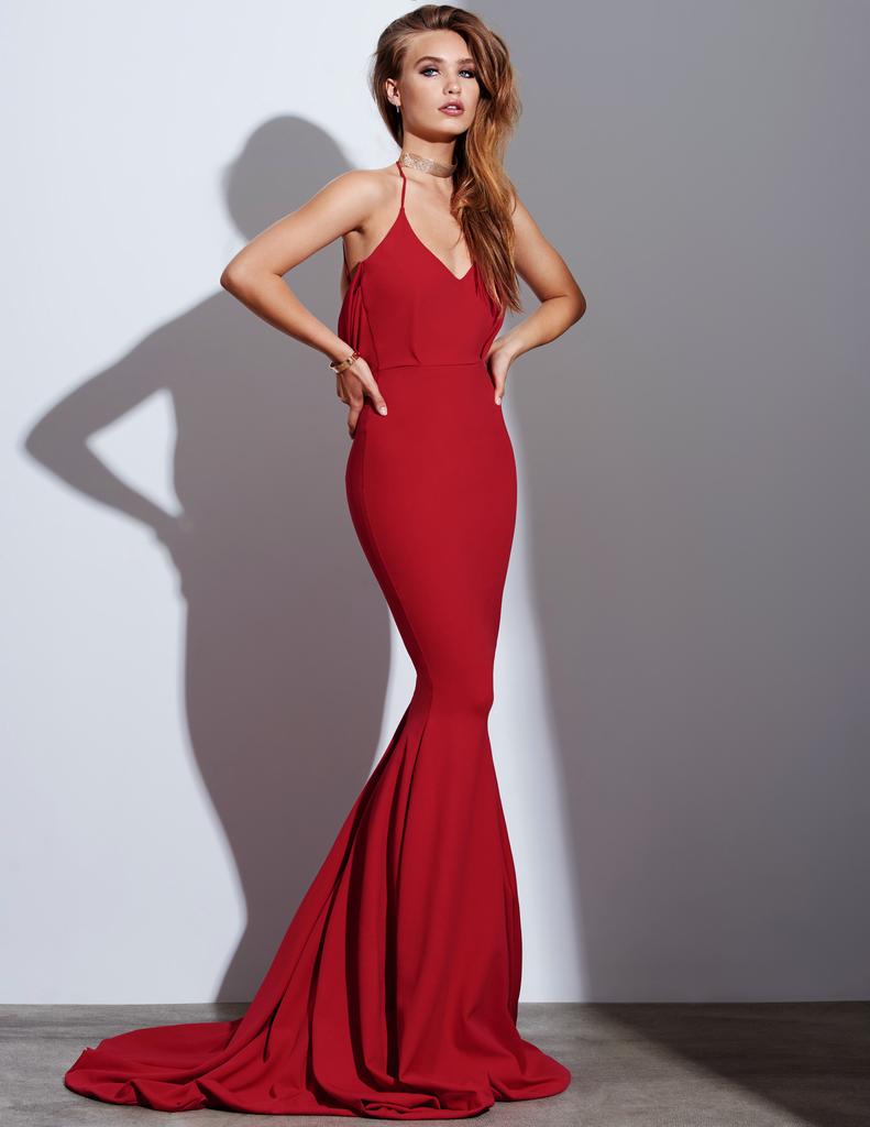 Elegant v neck red long mermaid prom dress with deep cowl back ball