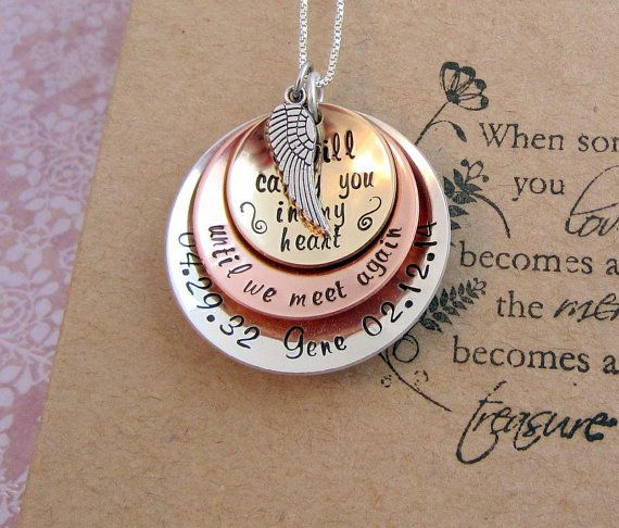 Memorial Necklace Sympathy Gift Unique Different