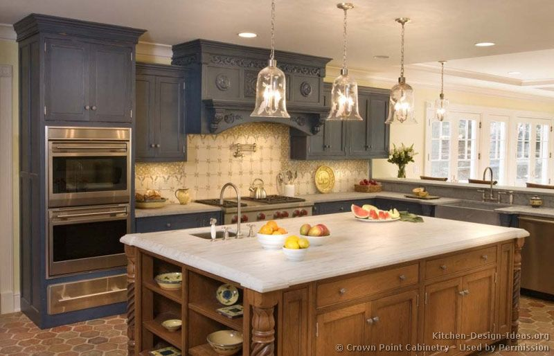 Traditional Gray Kitchen Cabinets (Crown-Point.com, Kitchen-Design ...