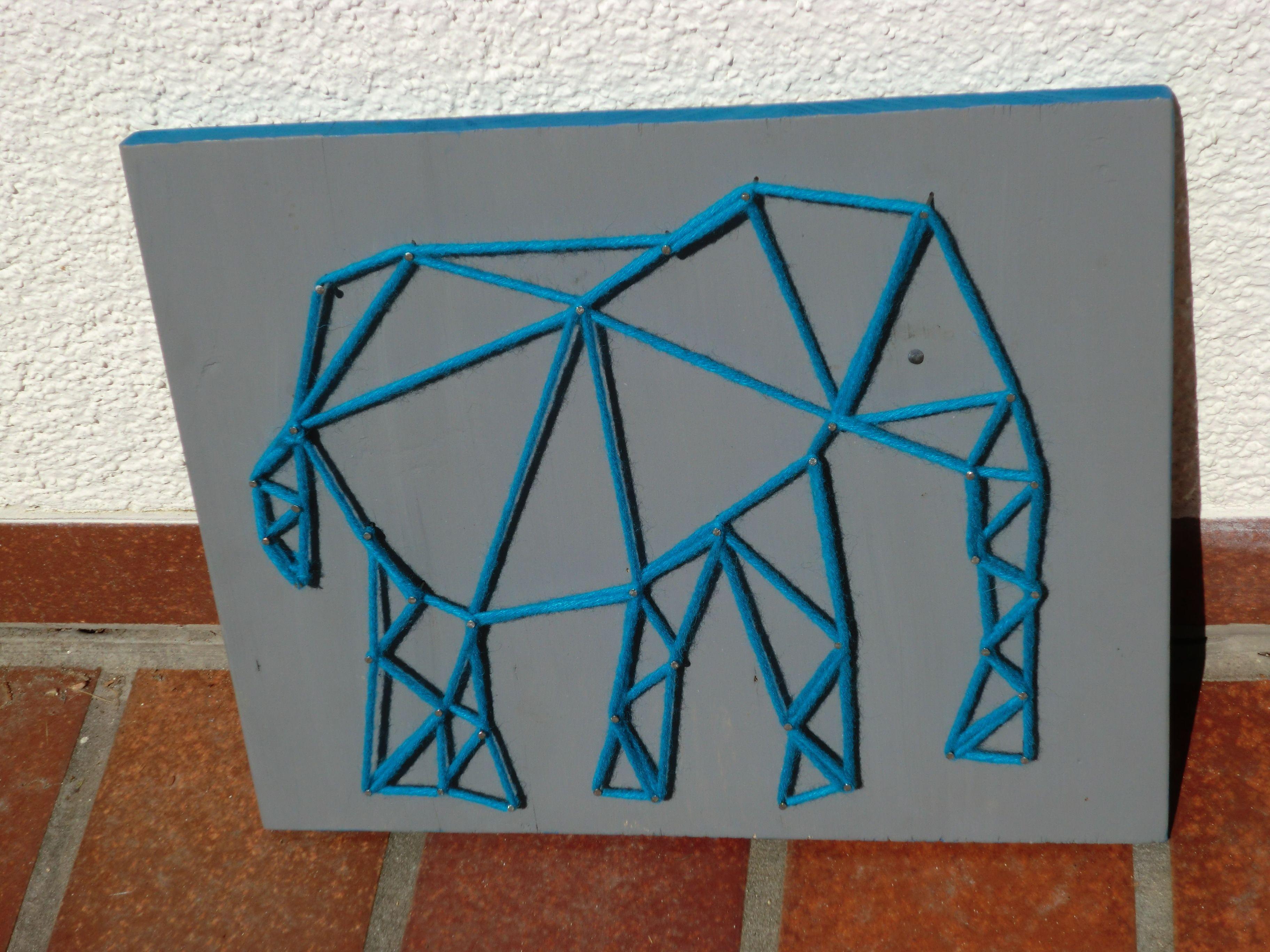 Elefant, Nagelbild, Fadenbild | Zooschule Aktions- od. Bastelstand ...