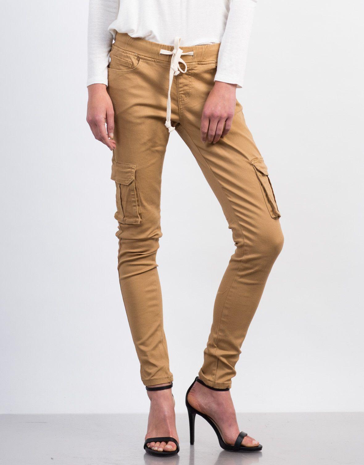Drawstring Skinny Cargo Pants in Khaki (35 CAD) ❤ liked on ...