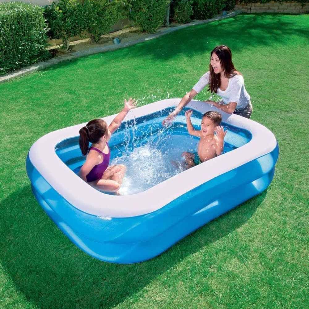 blue rectangular inflatable pool family kids fun swimming splashing outdoor 450l - Rectangle Inflatable Pool