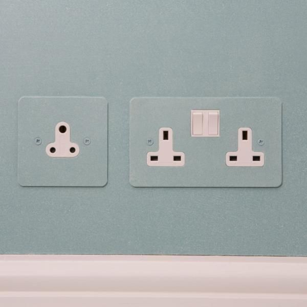Uk Painted Double 13amp Socket And Single 5amp Socket With White Insert Light Switches And Sockets Sockets Light Switch