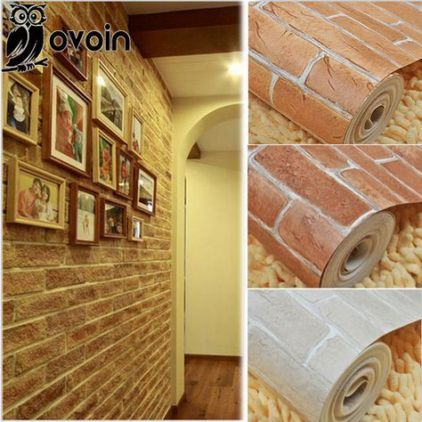 Red/Brown/Beige 3D Embossed Brick Wallpaper Roll Rustic Brick Vinyl ...