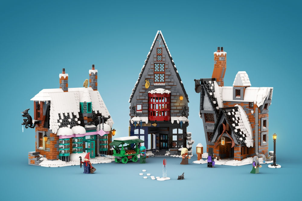 Lego Ideas Recreating A Magical Harry Potter Holiday Scene Winter In Hogsmeade Update Lego Hogwarts Lego Winter Lego Winter Village
