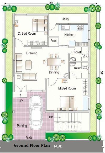 8069floor Plan 30x45 News Jpg House Map 2bhk House Plan My House Plans