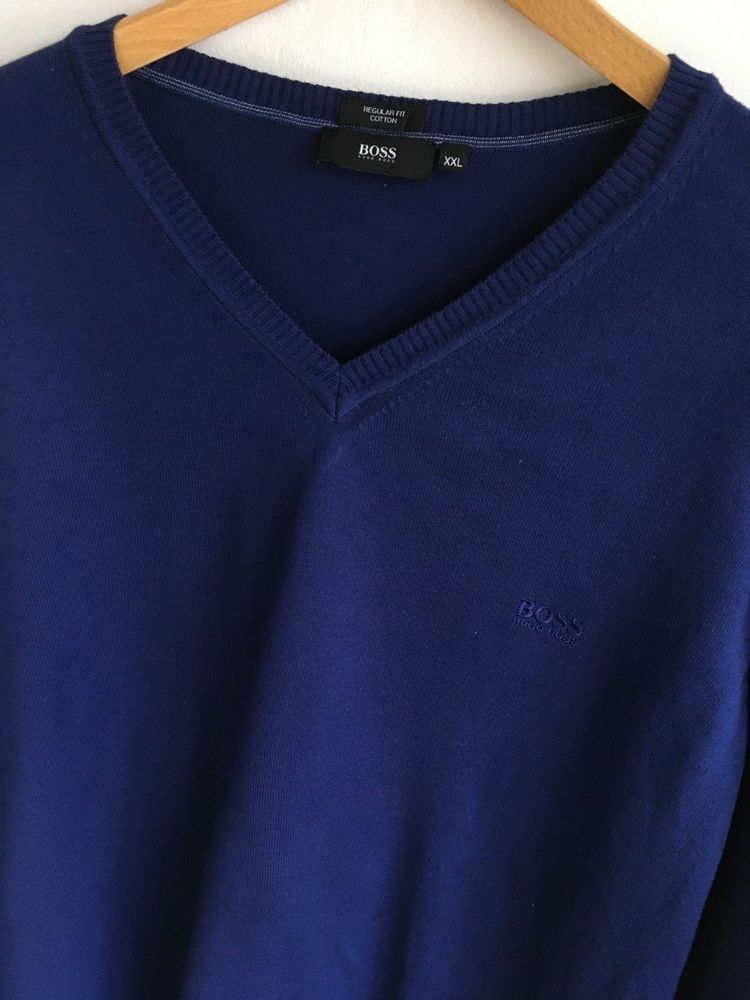 a8322c25f HUGO BOSS MENS XXL 2XL 44-46 DESIGNER BLUE COTTON V NECK JUMPER #fashion  #clothing #shoes #accessories #mensclothing #sweaters (ebay link)