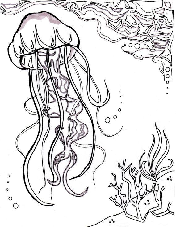 Jellyfish Ocean Ocean Coloring Sheet Aquatic Art Sea Nautical