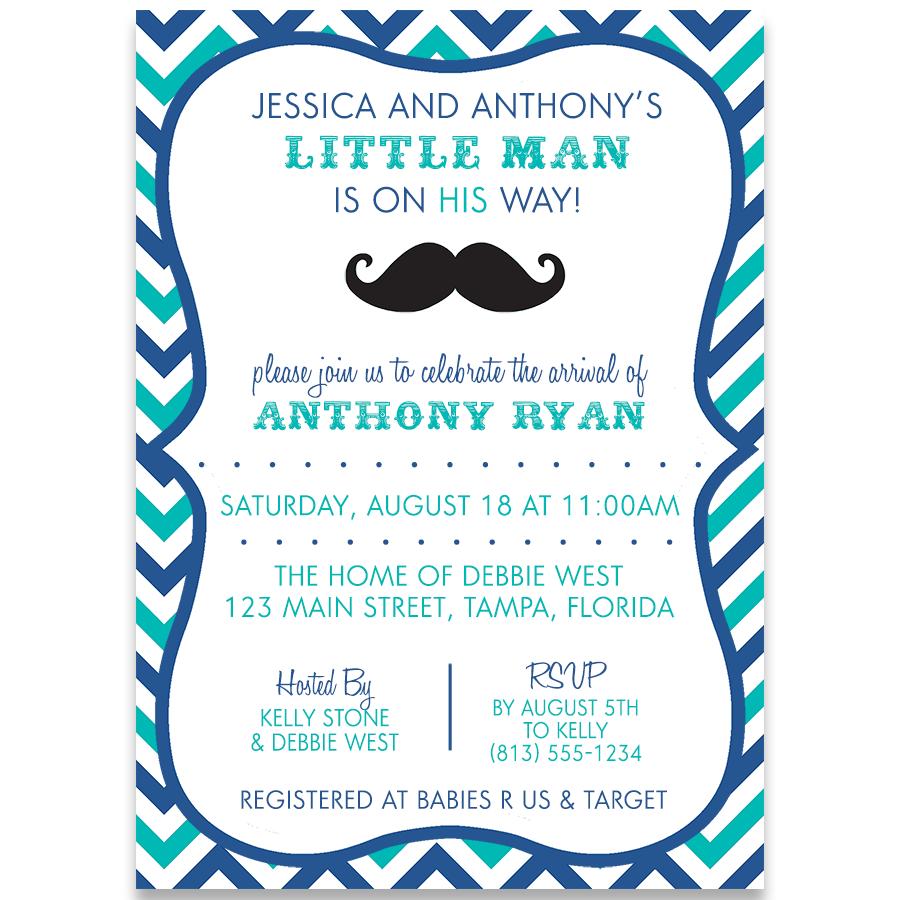 A Little Man Baby Blue Shower Invitation | Babies