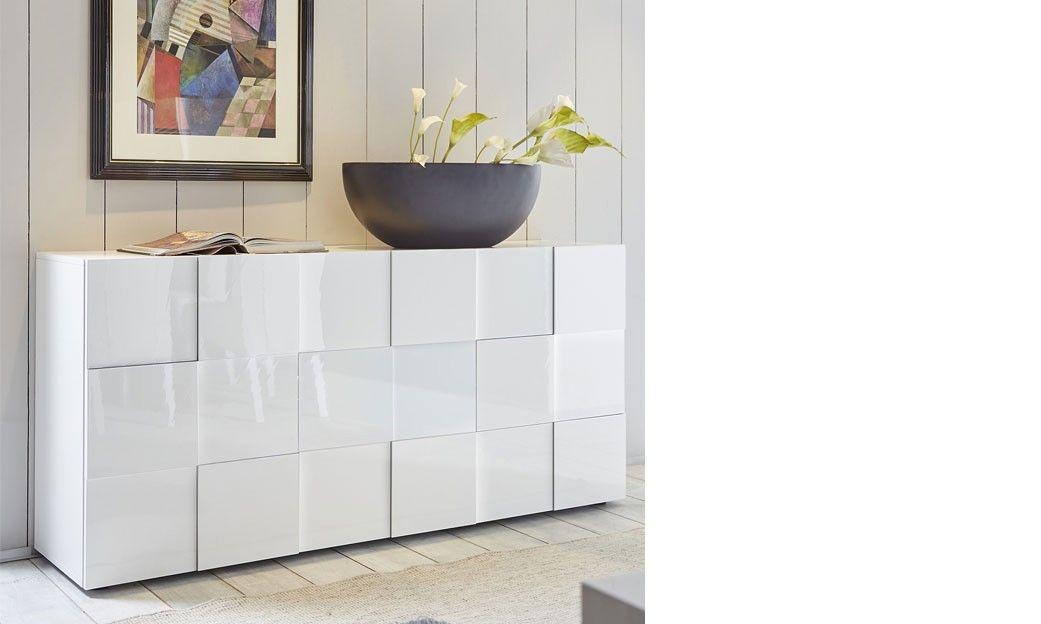 Buffet blanc laqué design ATMORE | Meuble avec miroir | Pinterest ...