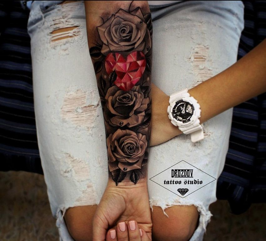 Roses pink crystal heart pinterest crystals for Tattoo sleeve cover up forearm